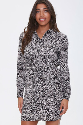 Forever 21 Leopard Print Shirt Dress