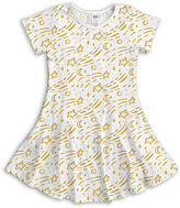 Urban Smalls White & Yellow Shooting Stars Fit & Flare Dress - Toddler & Girls
