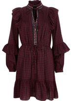 River Island Womens Red check frill high neck dress