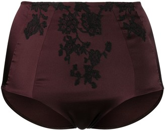 Carine Gilson Lace-Trimmed Satin Briefs