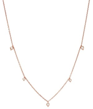 Bloomingdale's Diamond Bezel Charm Station Necklace in 14K Rose Gold, 0.25 ct. t.w. - 100% Exclusive