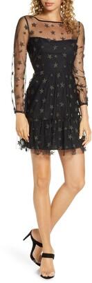 BB Dakota Star Status Metallic Embroidery Long Sleeve Fit & Flare Dress