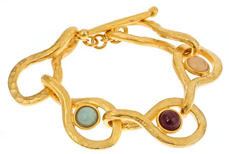 Evelyn Knight Hammered Gold and Stones Bracelet