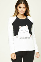 Forever 21 FOREVER 21+ Im Totally Kitten Fleece PJ Set