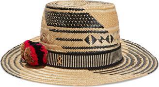 Yosuzi Malena Pompom-embellished Woven Straw Hat