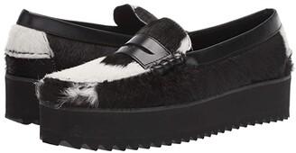 Sebago Dan Wedge (Black/White) Women's Shoes