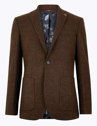 M&S CollectionMarks and Spencer Tailored Fit Wool Basket Weave Jacket