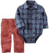 Carter's Baby Boy Plaid Button-Front Bodysuit & Distressed Jeans Set