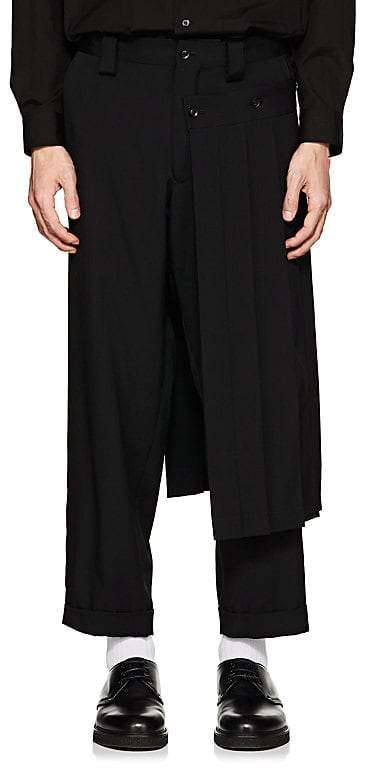 Yohji Yamamoto Men's Kilt-Detailed Wool Gabardine Crop Trousers