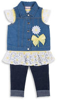 Little Lass Baby Girls Three-Piece Denim Vest, Top and Pants Set