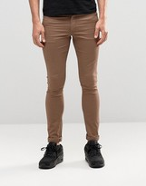 Asos Extreme Super Skinny Jeans In Light Brown