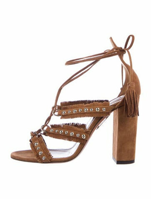 Aquazzura Suede Studded Accents Sandals Brown