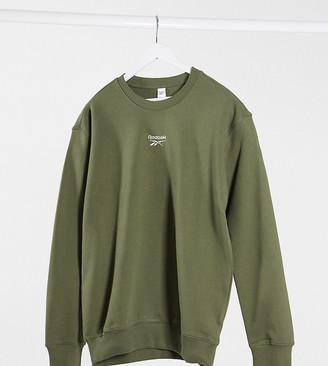 Reebok boyfriend fit sweatshirt with central logo in green exclusive to ASOS