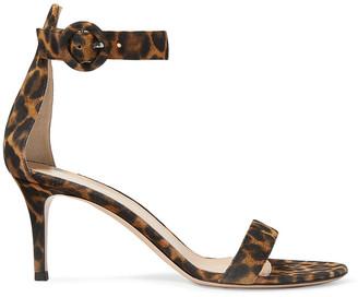 Gianvito Rossi Portofino 70 Leopard-print Suede Sandals