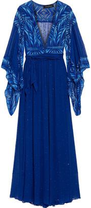 Jenny Packham Embellished Tulle-paneled Silk-chiffon Kimono