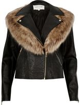 River Island Womens Black faux fur collar biker jacket