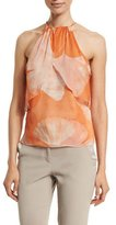 Halston Halter-Neck Printed Top, Terracotta Botanical