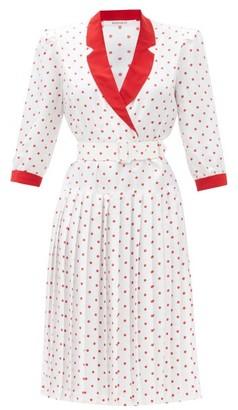 Rodarte Belted Polka-dot Silk-satin Dress - Red White