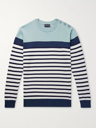 Armor Lux Button-Embellished Striped Cotton Sweater