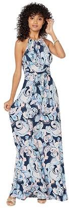 Lilly Pulitzer Martina Maxi Dress (High Tide Navy Holy Flockamolie) Women's Dress