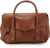 Neiman Marcus Cargo Pebbled Faux-Leather Satchel Bag, Earth/Gold