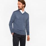 Paul Smith Men's Blue Marl Merino Wool V-Neck Sweater