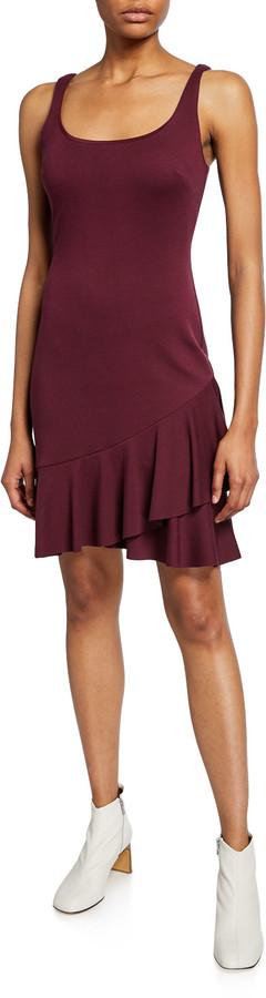 Bailey 44 Malinda Sleeveless Ruffle-Hem Ponte Dress