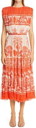 Johanna Ortiz Print Crepe Blouson Midi Dress