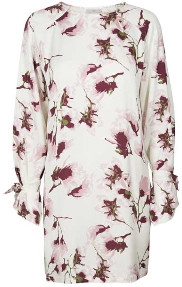 Minimum - Ebba Long Sleeve Floral Printed Shift Dress - 34 (8) - White/Pink