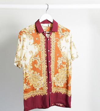 ASOS DESIGN Tall regular revere shirt in paisley bandana placement print