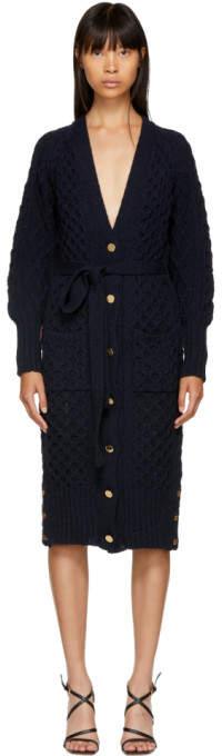 Thom Browne Navy Tweed Aran Cable Long Cardigan