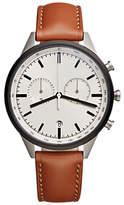 Uniform Wares C41sgr01naptan1816r01 C41 Chronograph Date Leather Strap Watch, Tan/grey