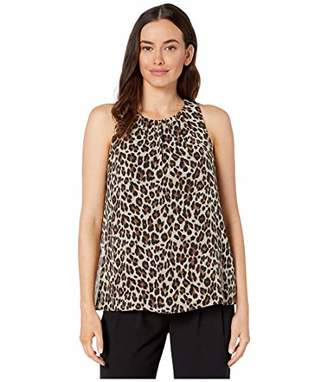 Vince Camuto Women's Sleeveless Elegant Leopard Pleat Front Top