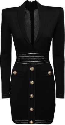 Balmain Knit Viscose Mini Dress W/ Buttons