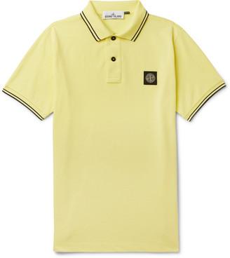 Stone Island Slim-Fit Contrast-Tipped Logo-Appliqued Cotton-Pique Polo Shirt