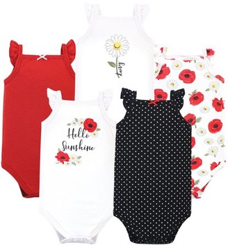 Hudson Baby Girl Sleeveless Cotton Bodysuits, 5-Pack