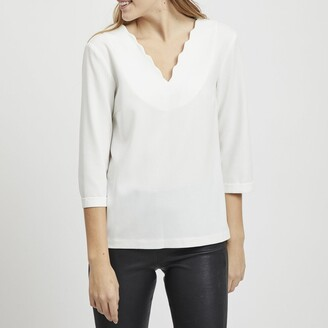 Vila Vidiva Blouse with V-Neck Front and Back and Scalloped Edging