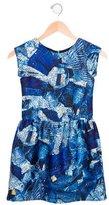 Junior Gaultier Girls' Metallic-Accented Denim Print Dress