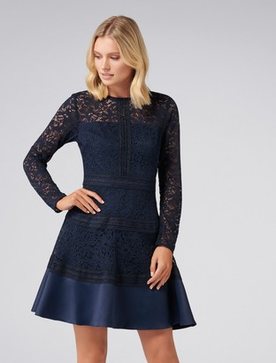Forever New Marion Spliced Lace Dress - Navy - 4