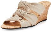 Neiman Marcus Marcela Knotted Leather Wedge Sandal, Ecru