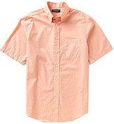 Roundtree & Yorke Short-Sleeve Heather Solid Button-Down Collar Sportshirt