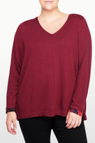 NYDJ Mixed Media V Neck Sweater In Plus