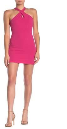 Velvet Torch Cross Front Halter Mini Dress