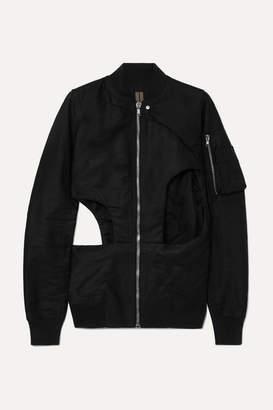 Rick Owens Cutout Cotton-canvas Bomber Jacket - Black