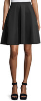 Neiman Marcus Zip-Back Flared Midi Skirt, Black