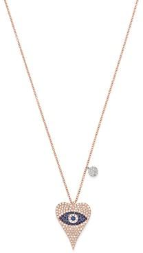 Meira T 14K Rose Gold Diamond & Blue Sapphire Evil Eye Heart Necklace, 18