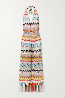 Missoni Fringed Pleated Crochet-knit Halterneck Jumpsuit - Yellow