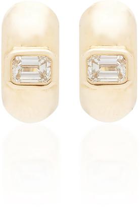 Zoë Chicco 14K Yellow Gold & Emerald Cut Diamond Huggies