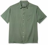 Van Heusen Men's Fit Air Short Sleeve Button Down Poly Rayon Grid Shirt