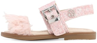Florens Glitter Sandals W/ Faux Feather